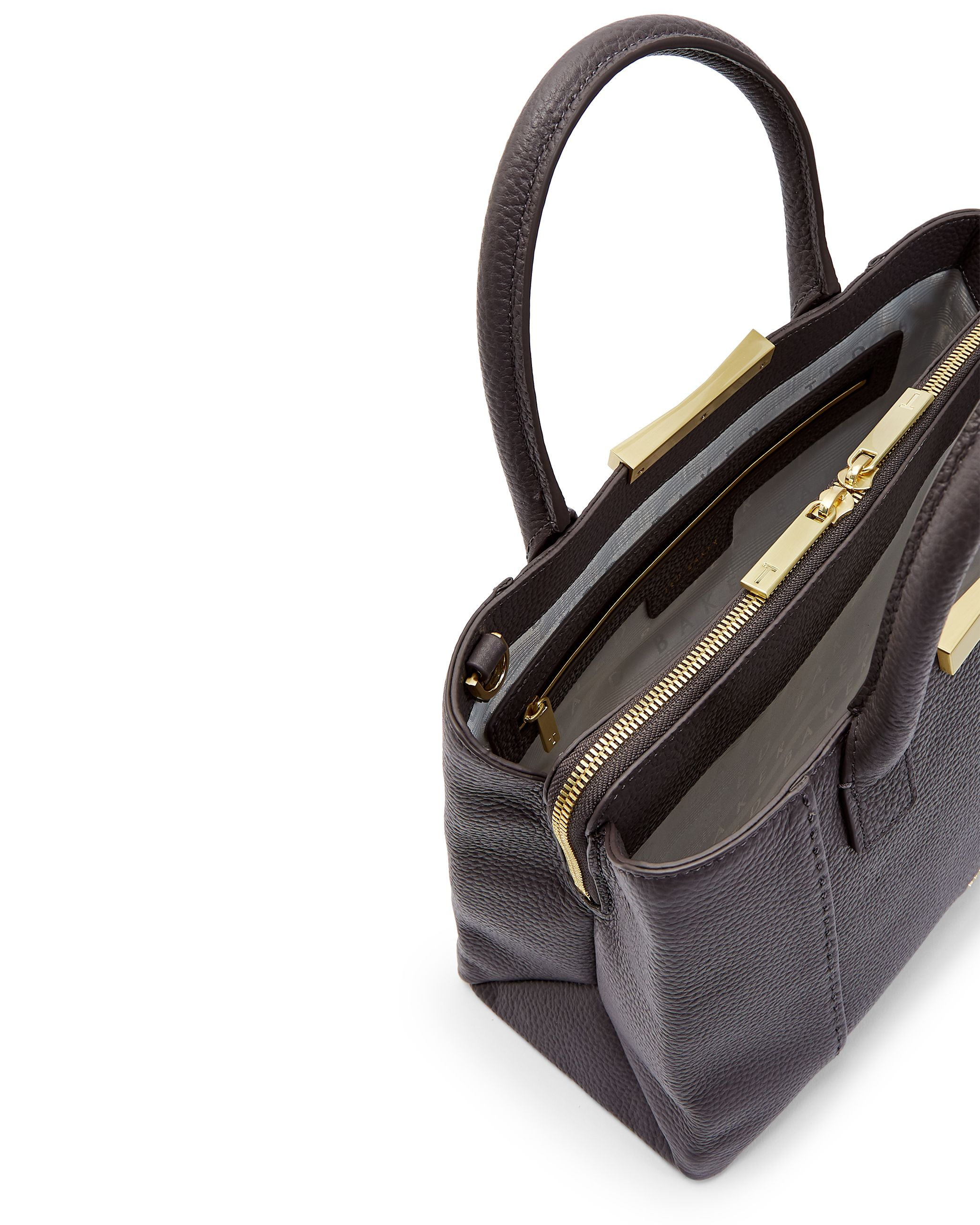 Ted Baker Colesa Soft Grain Faceted Bar Sml Tote, Charcoal