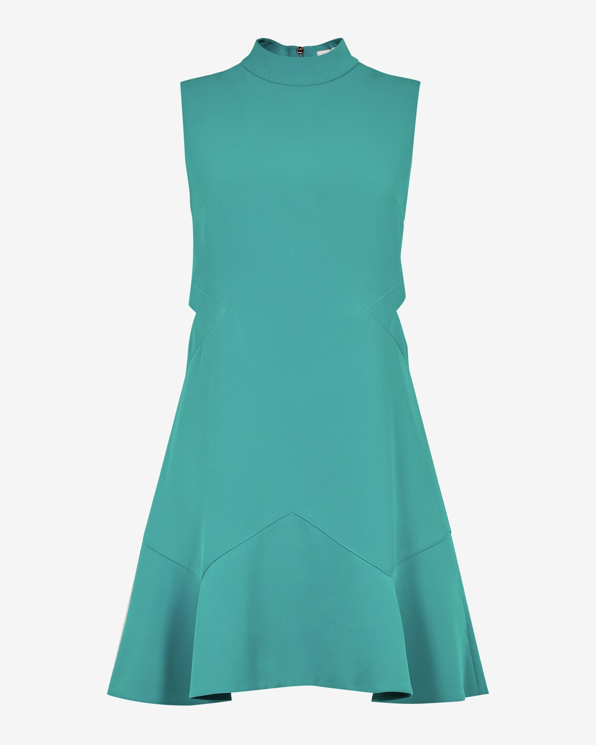 Ted Baker Cormier Cut Out Fluted Shift Dress in Turquoise