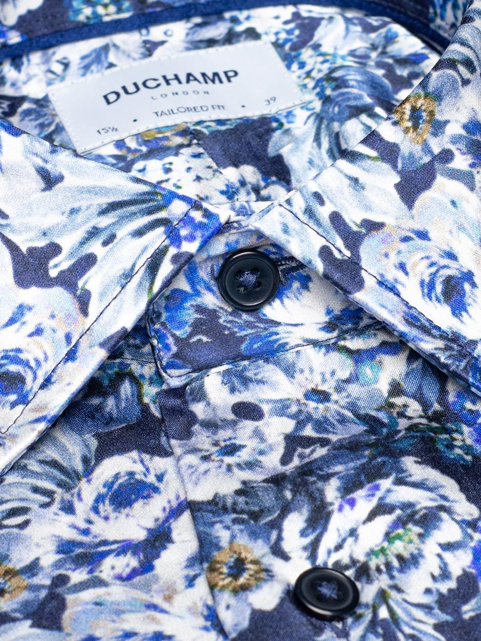 Deco Floral Silk Print Shirt Navy
