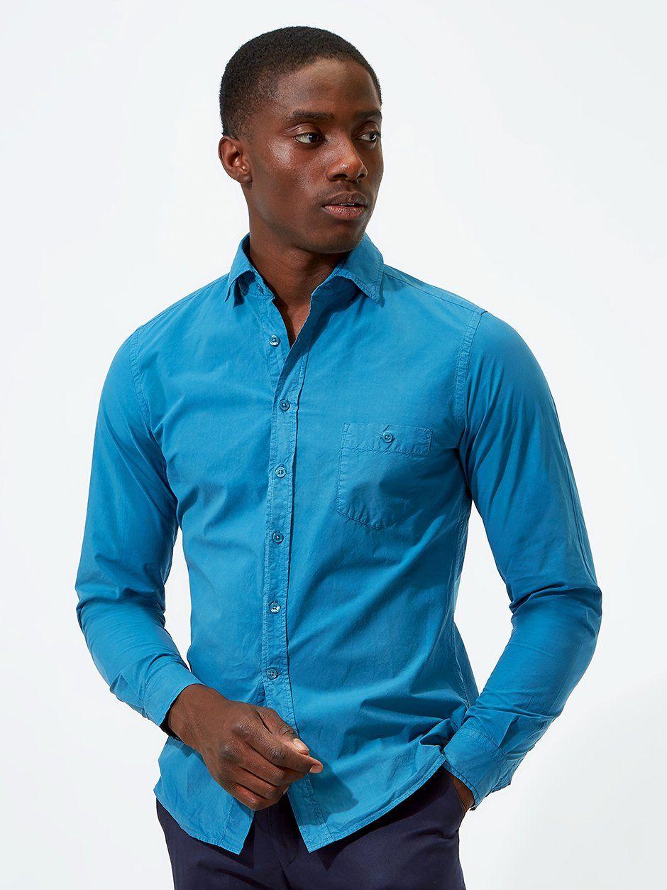 Plain Poplin Shirt Blue