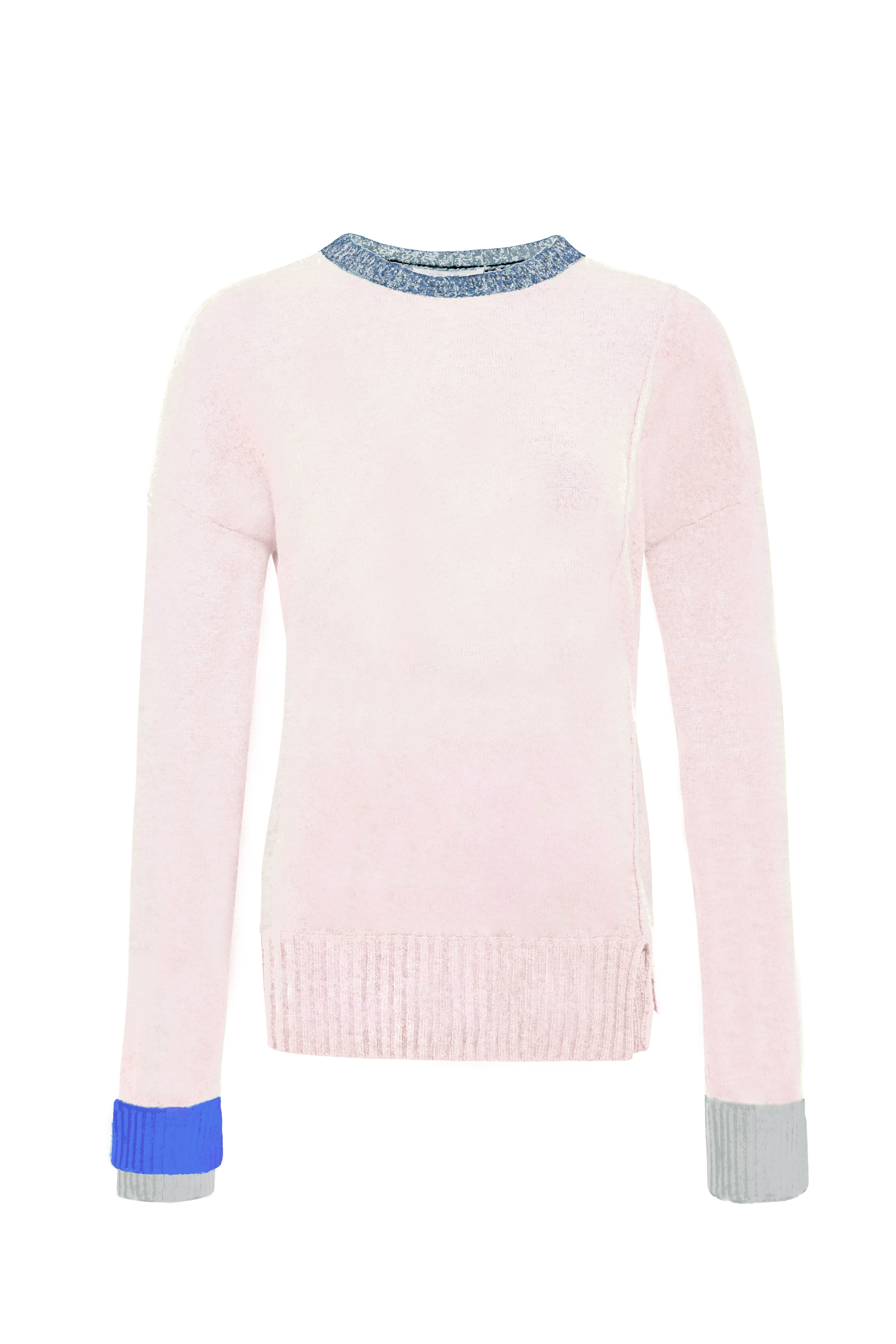 Pink Cashmere Ribbed Cuff Sweater