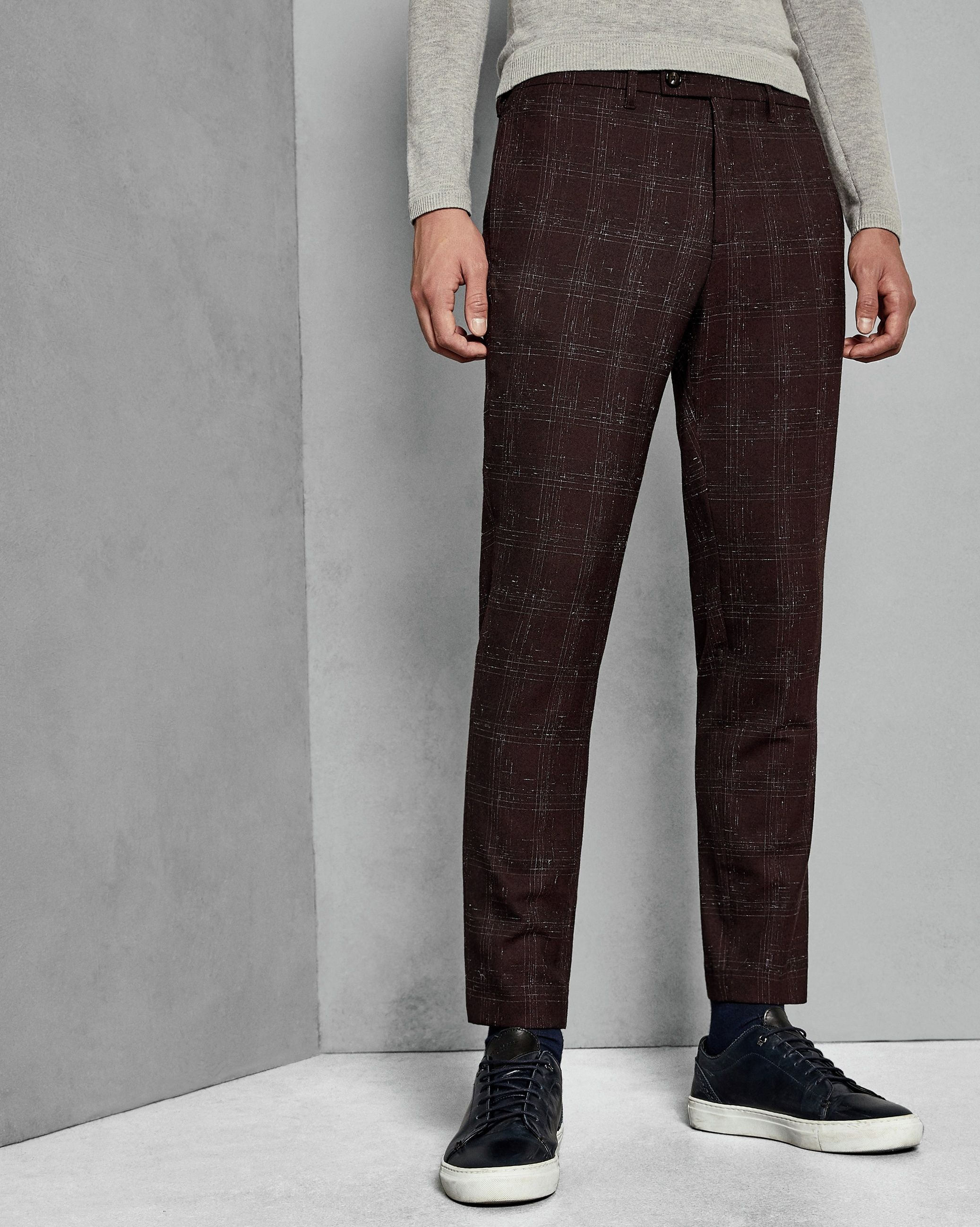 Ted Baker Ddartro Boucle Check Trousers, Dark Red