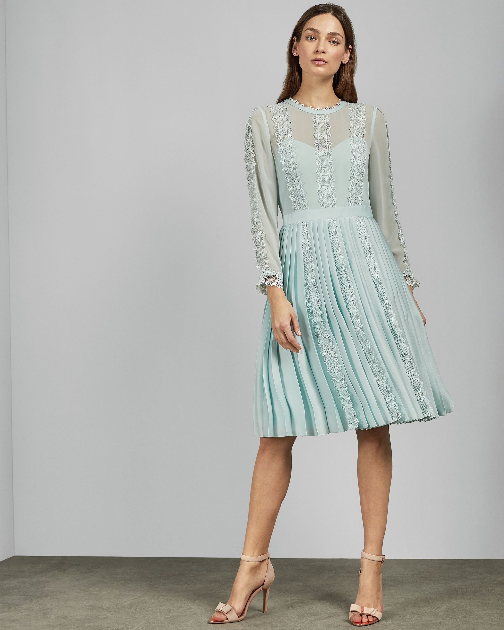 Ted Baker Diannah Lace Trim Pleated Skirt Dress, Pale Blue