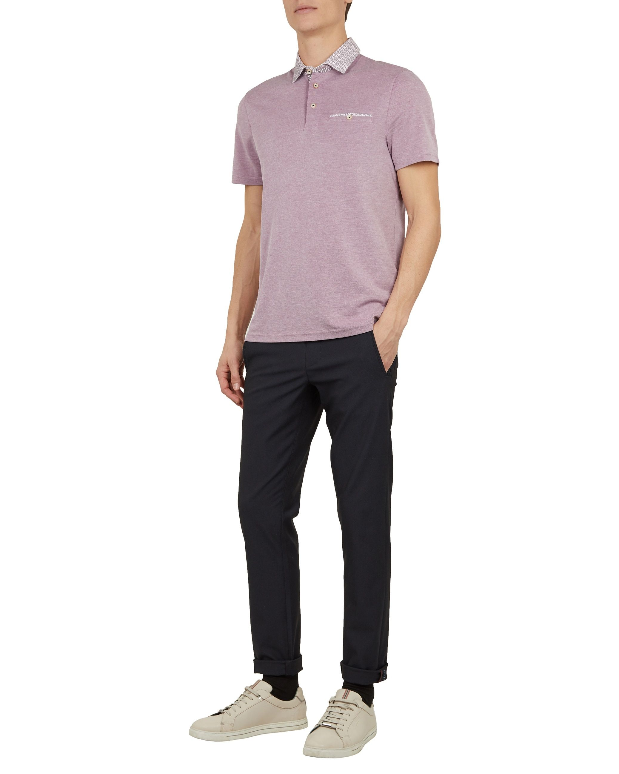 Ted Baker Doller Short-Sleeved Polynosic Polo, Deep Pink