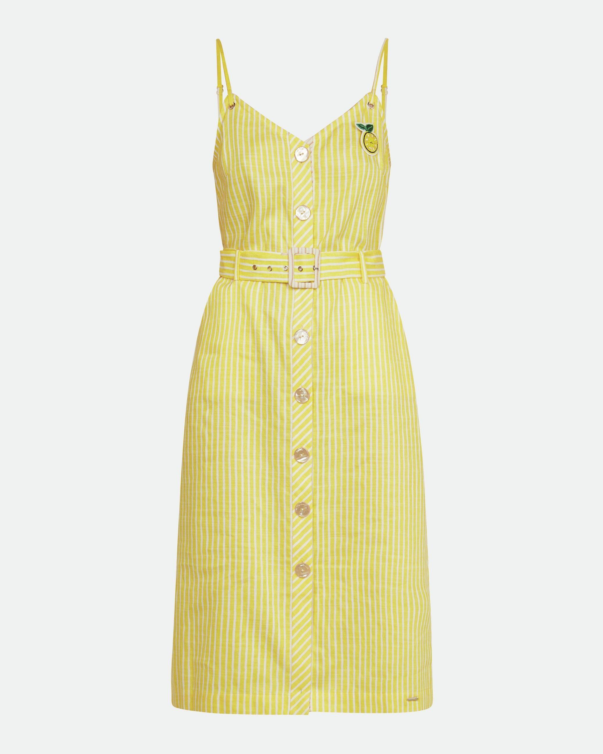Ted Baker Donana Cabin Linen Stripe Sun Dress in Yellow