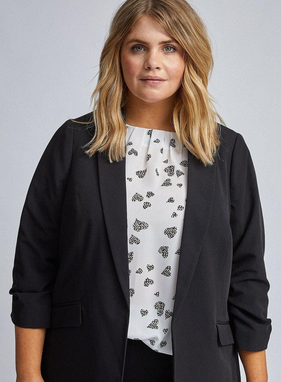 Dorothy Perkins Womens Curve Black Edge To Edge Jacket Blazer Tailored Overcoat