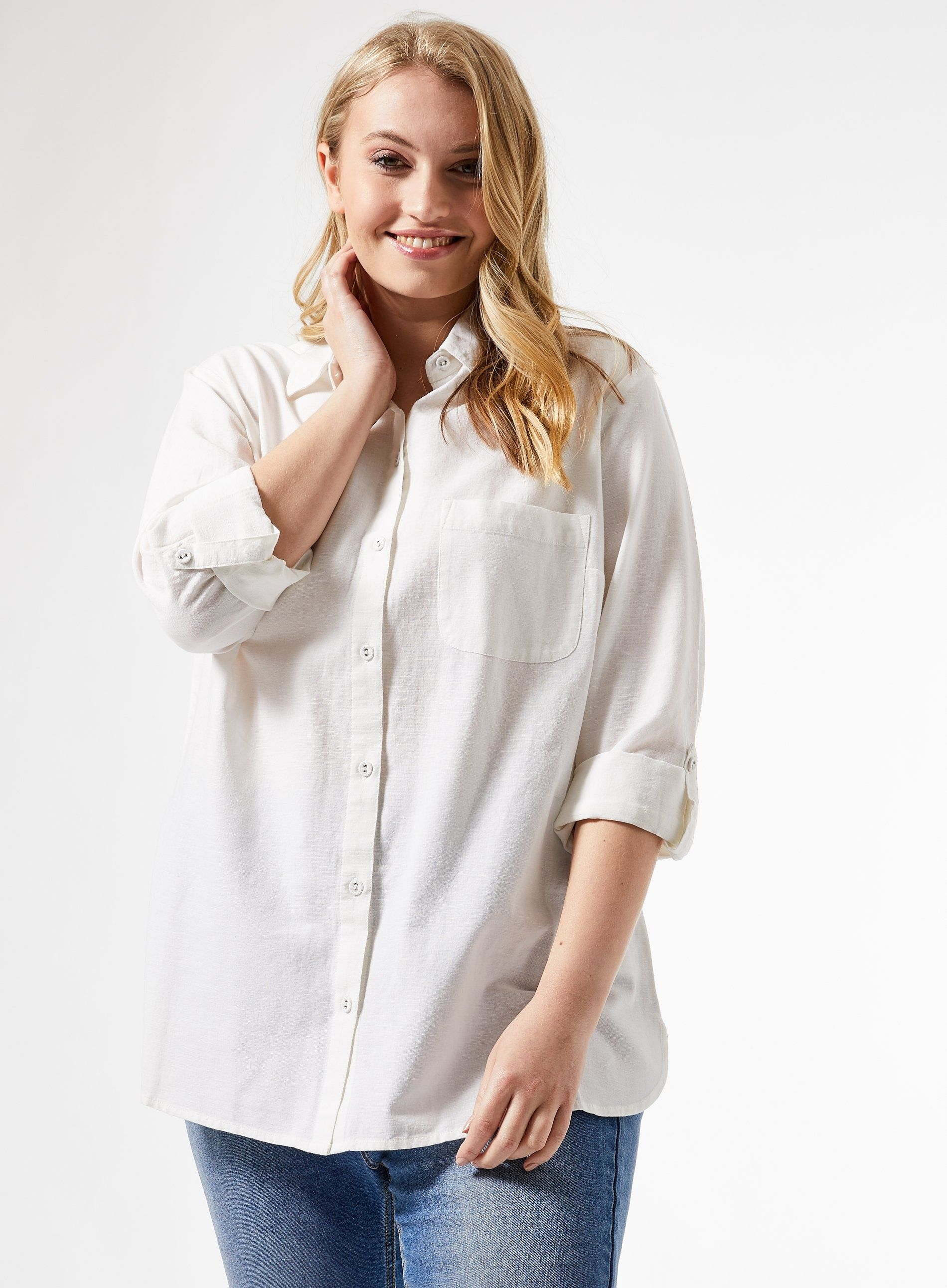 Dorothy Perkins Womens Curve White Shirt Linen 3/4 Sleeve Front Pocket Top