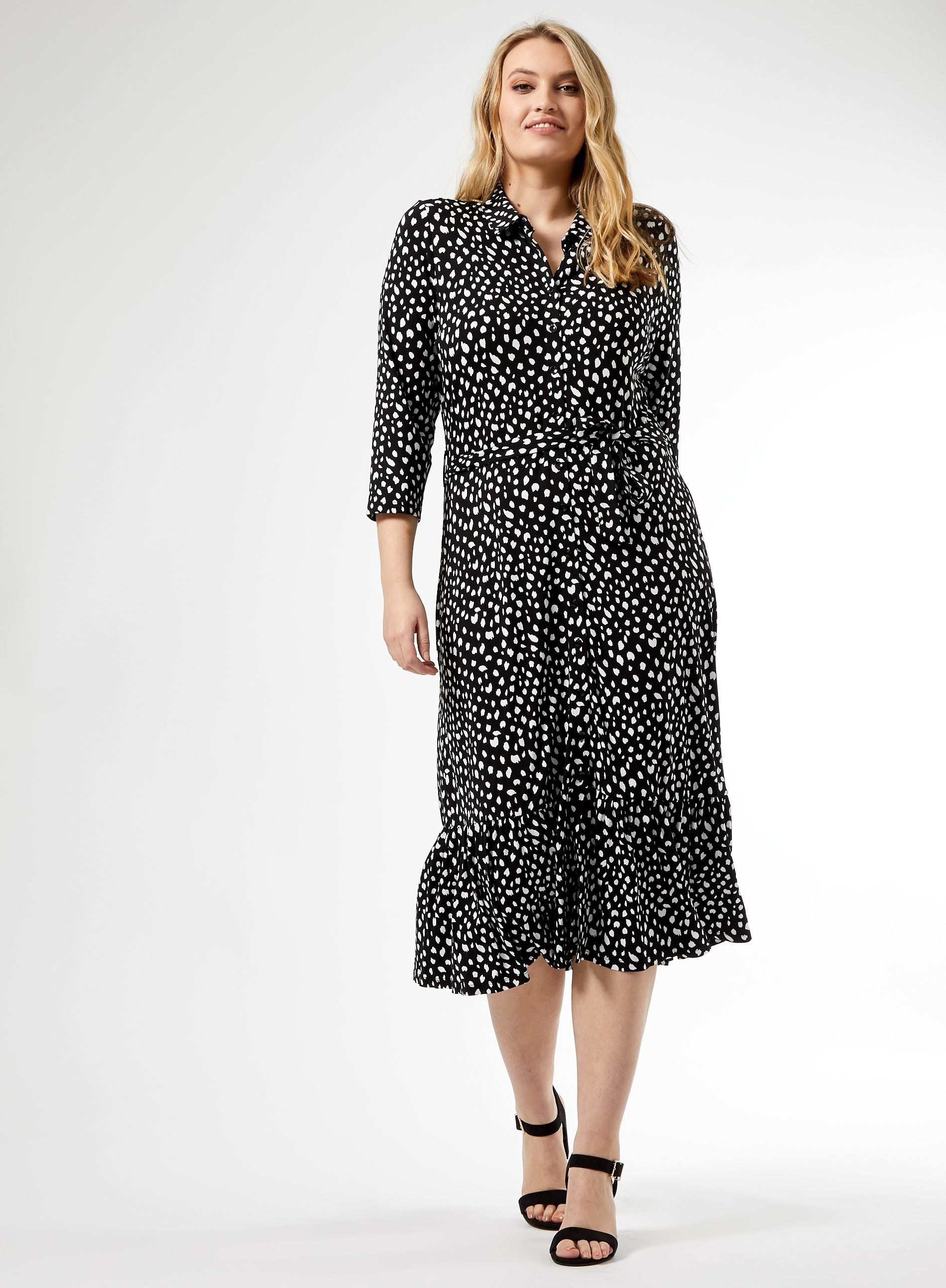 Dorothy Perkins Womens Curve Black Spot Polka Print Midi Shirt Dress 3/4 Sleeve