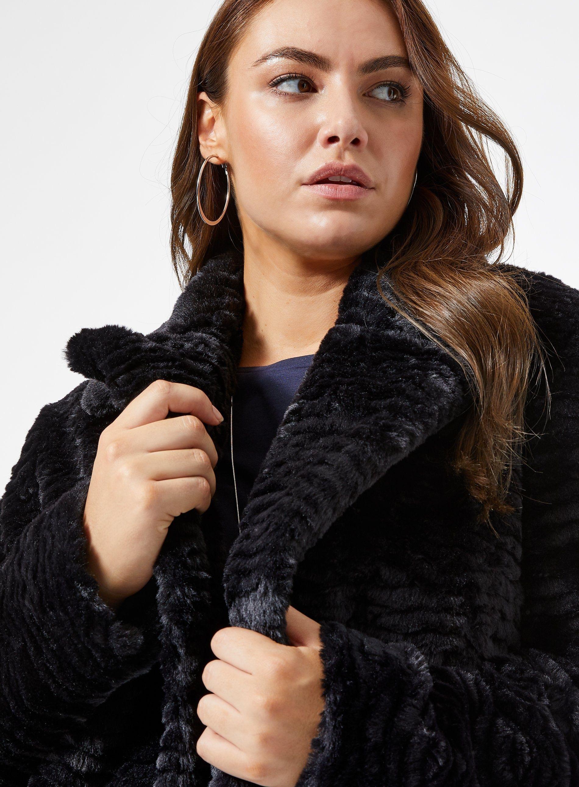 Dorothy Perkins Womens Curve Black Short Faux Fur Coat Jacket Outwear Top