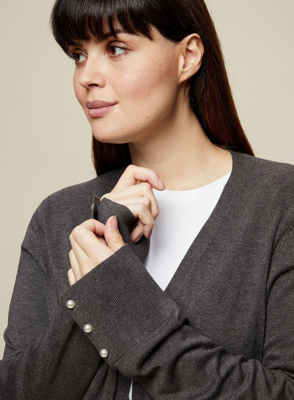 Dorothy Perkins Womens Curve Charcoal Cardigan Knitwear Jumper Top Long Sleeve