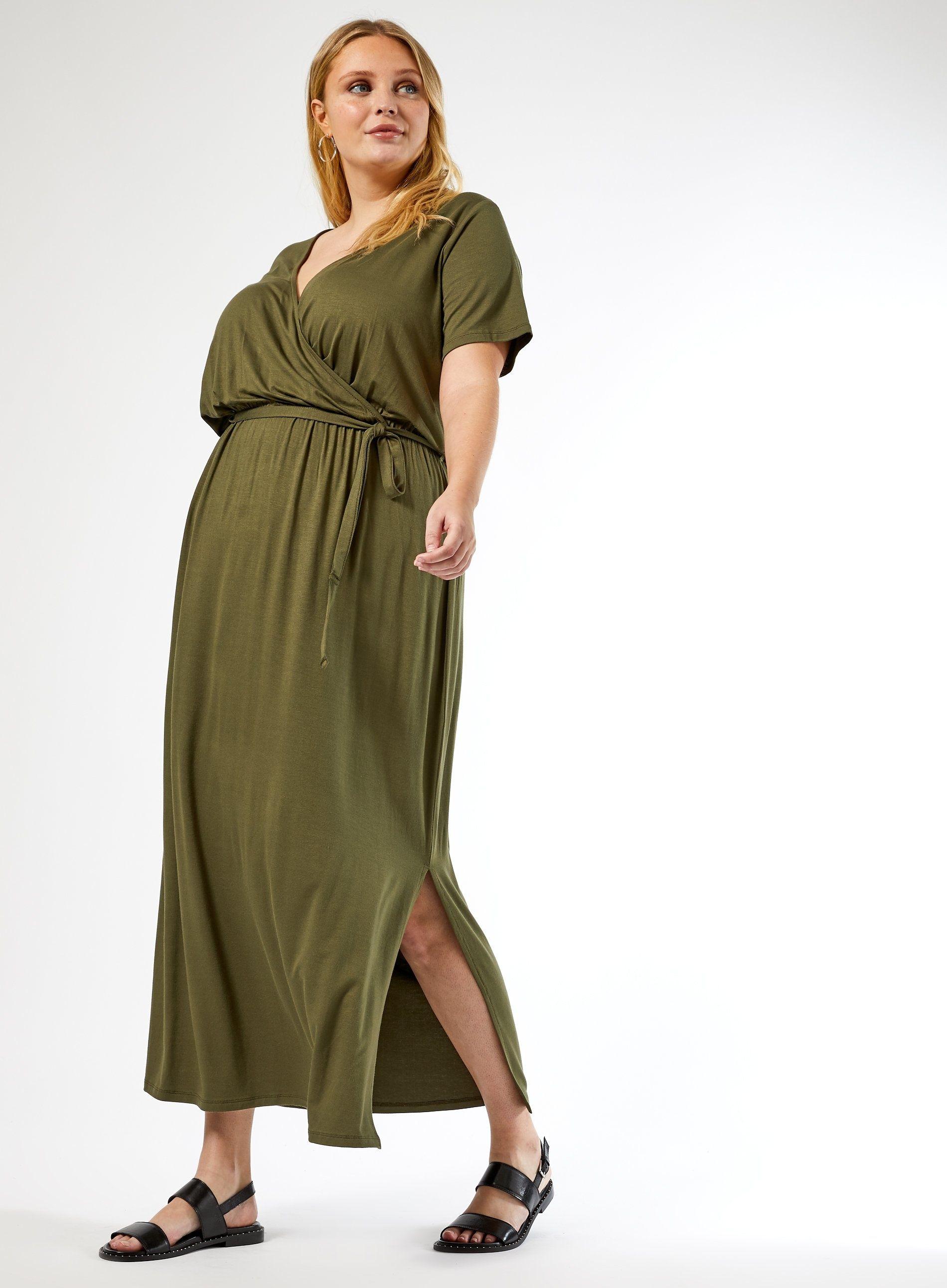 Dorothy Perkins Womens Curve Green Maxi Wrap Dress V-Neck Short Sleeve