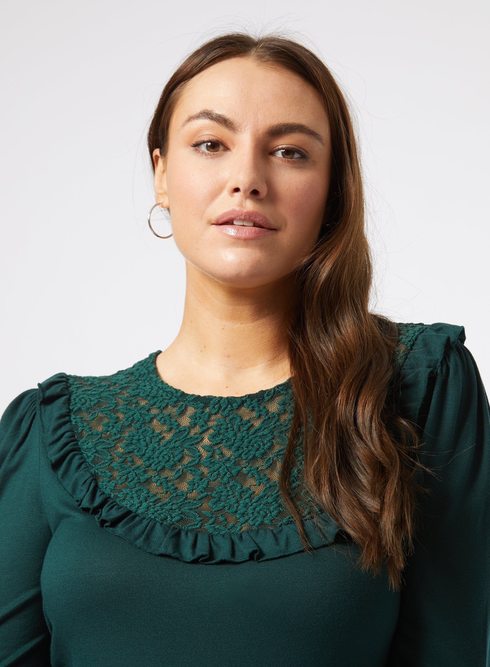 Dorothy Perkins Womens Curve Green Lace Insert Frill T-Shirt Round Neck