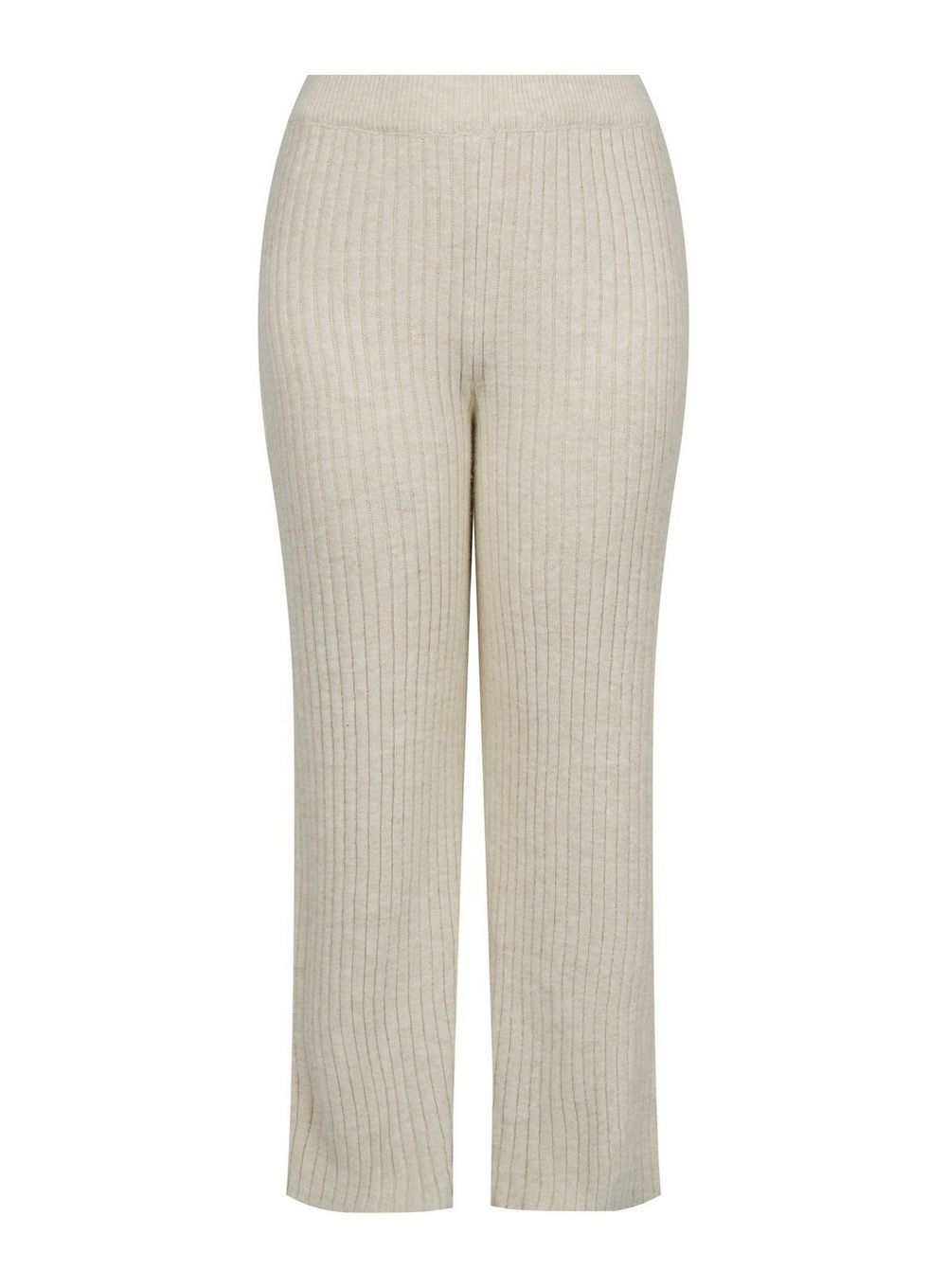 Dorothy Perkins Womens Curve Beige Knitted Wide Leg Trousers Sweatpants Bottoms
