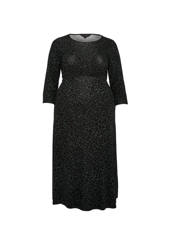 Dorothy Perkins Womens Curve Green Heart Midi Dress 3/4 Sleeve Round Neck