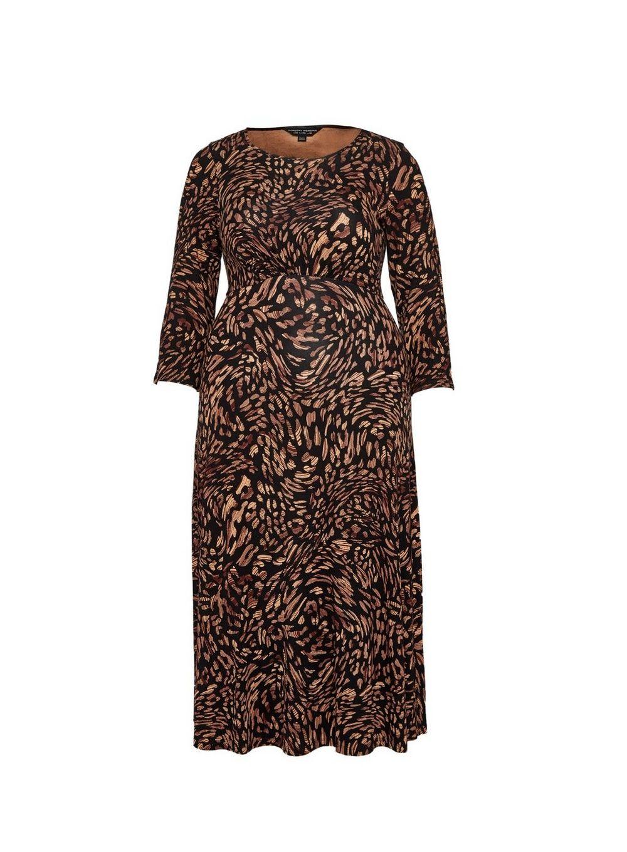 Dorothy Perkins Womens Curve Brown Printed Midi Dress 3/4 Sleeve Round Neck