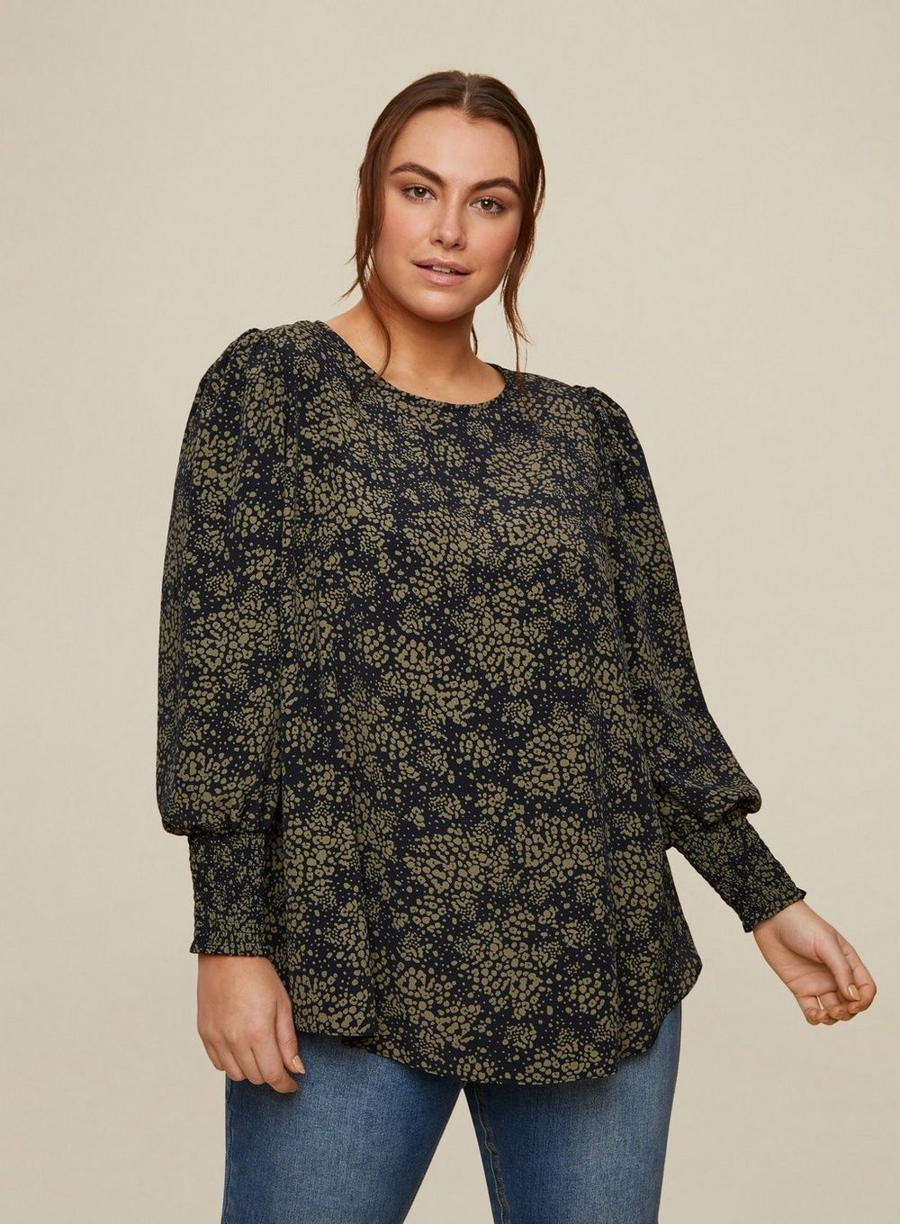 Dorothy Perkins Womens Curve Black Long Sleeve Top Round Neck Blouse Shirt