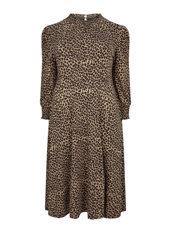 Dorothy Perkins Womens Curve Multi Colour Leopard Print Dress Long Sleeve