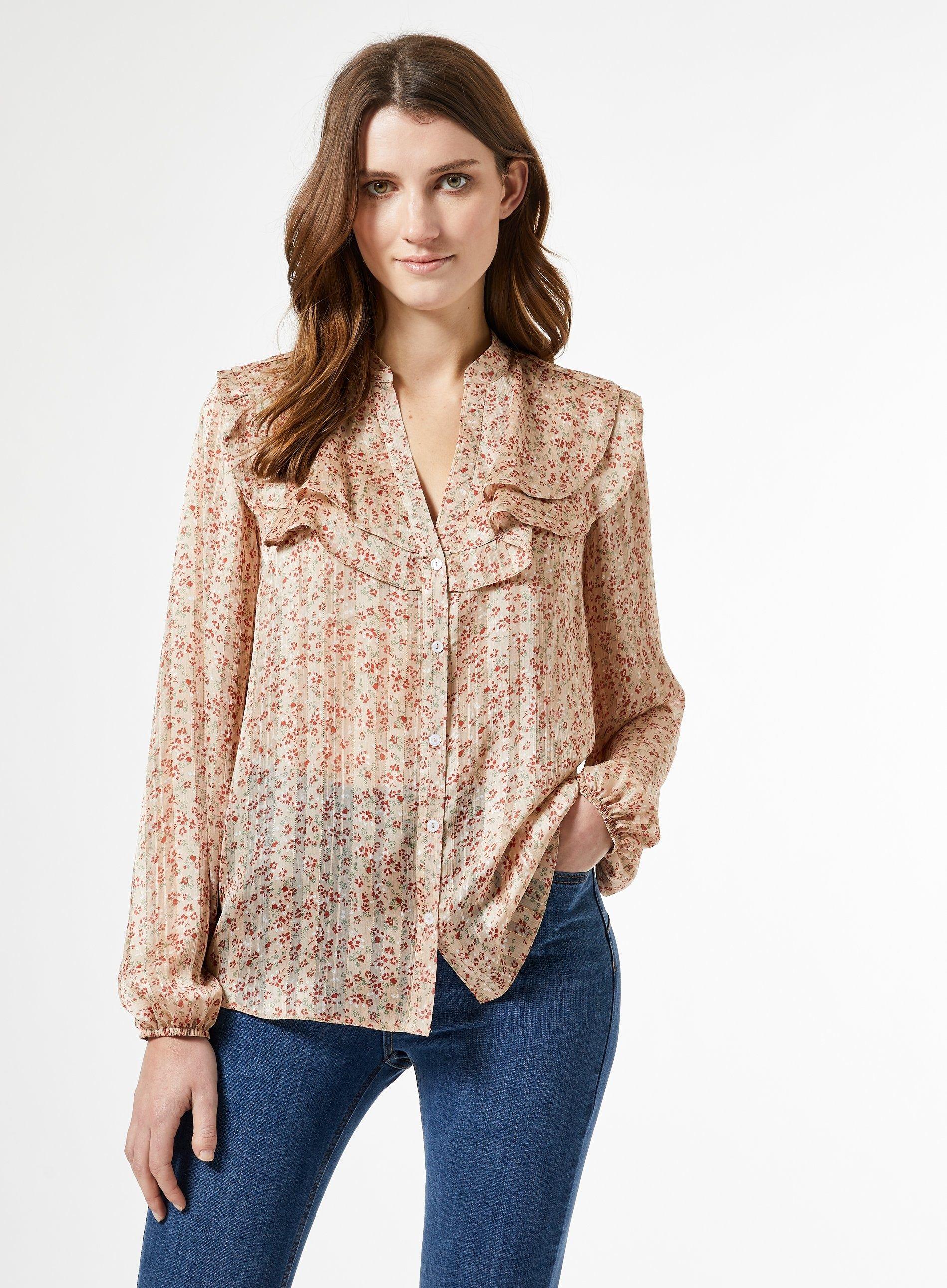 Dorothy Perkins Womens Pink Chiffon Floral Print Long Sleeve Shirt V-Neck Top