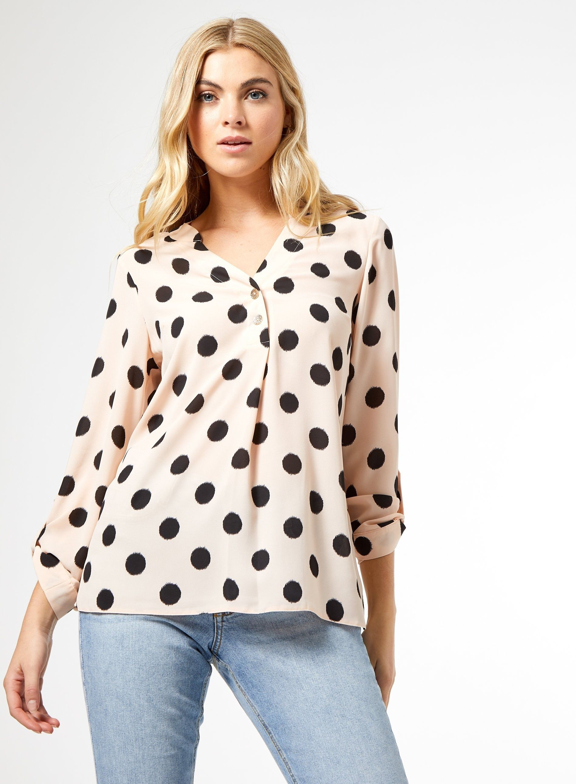 Dorothy Perkins Womens Brown Spot Print Two Button Roll Sleeve Top V-Neck Blouse