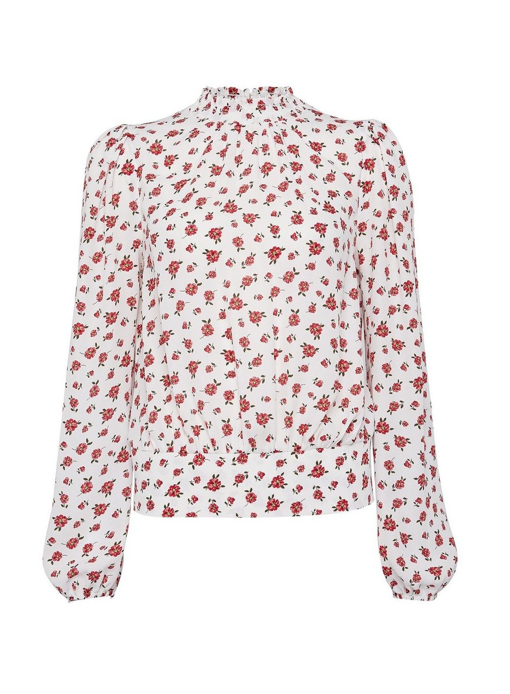 Dorothy Perkins Womens White Colour Ditsy Floral Print Elastic Back Top Blouse