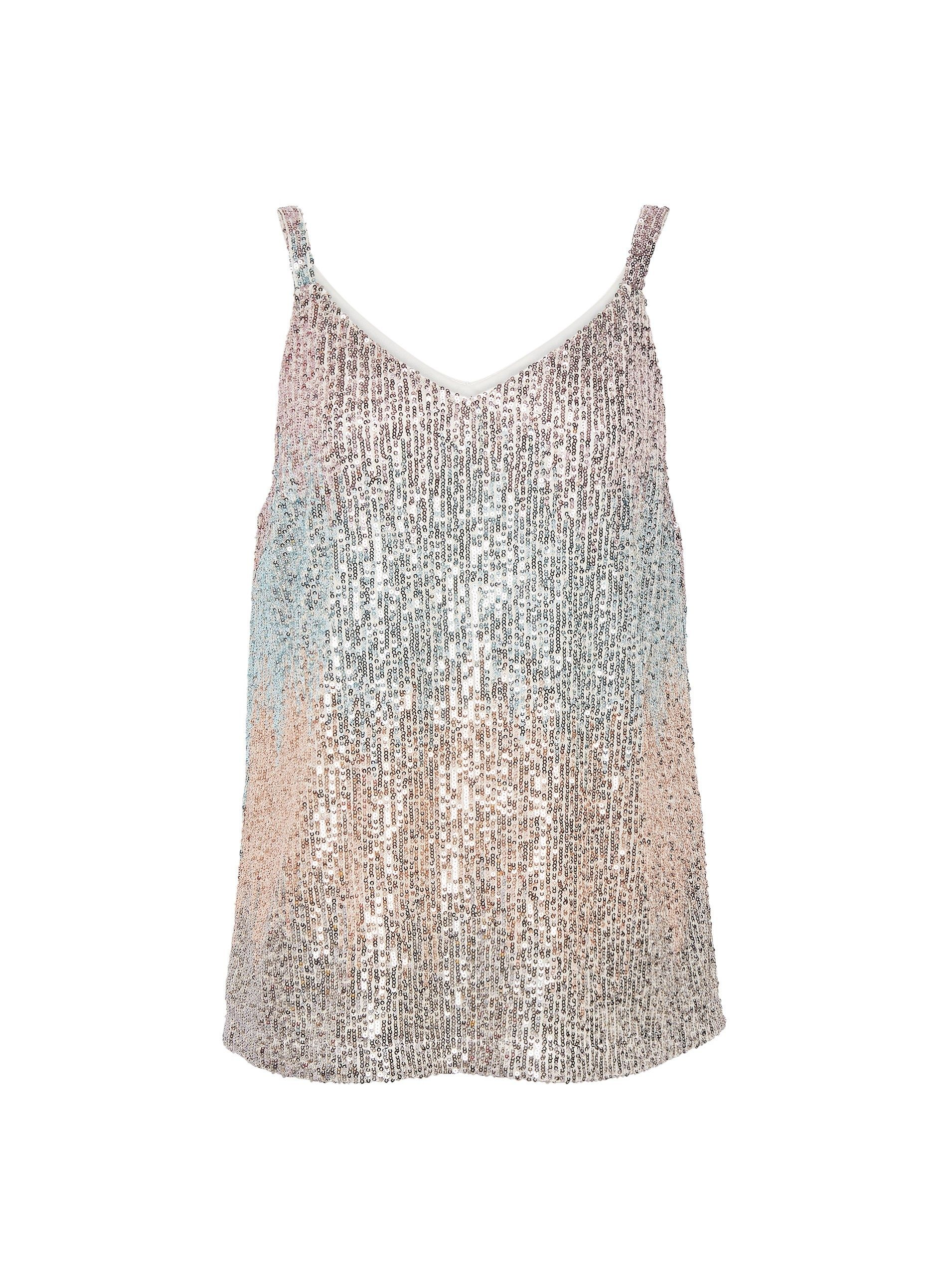 Dorothy Perkins Womens Multi Coloured Sequin Camisole Top V-Neck Sleeveless