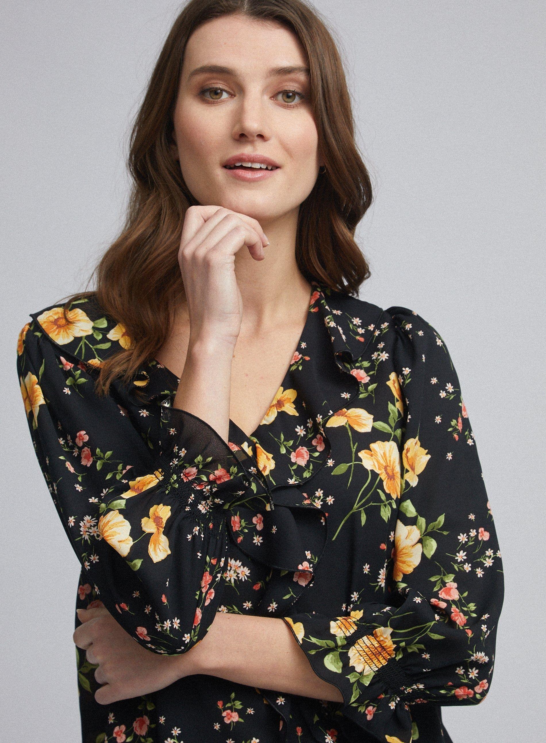 Dorothy Perkins Womens Black Floral Print Ruffle Top 3/4 Sleeve V-Neck Blouse