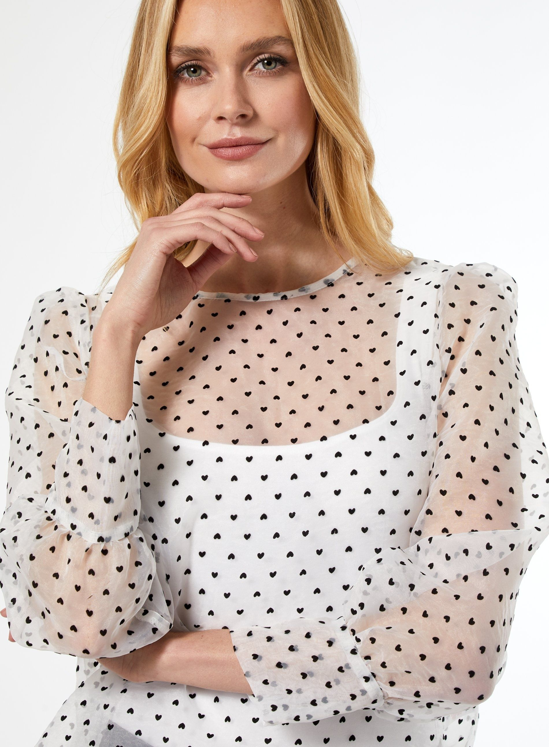 Dorothy Perkins Womens White Organza Long Sleeve Top Blouse Casual