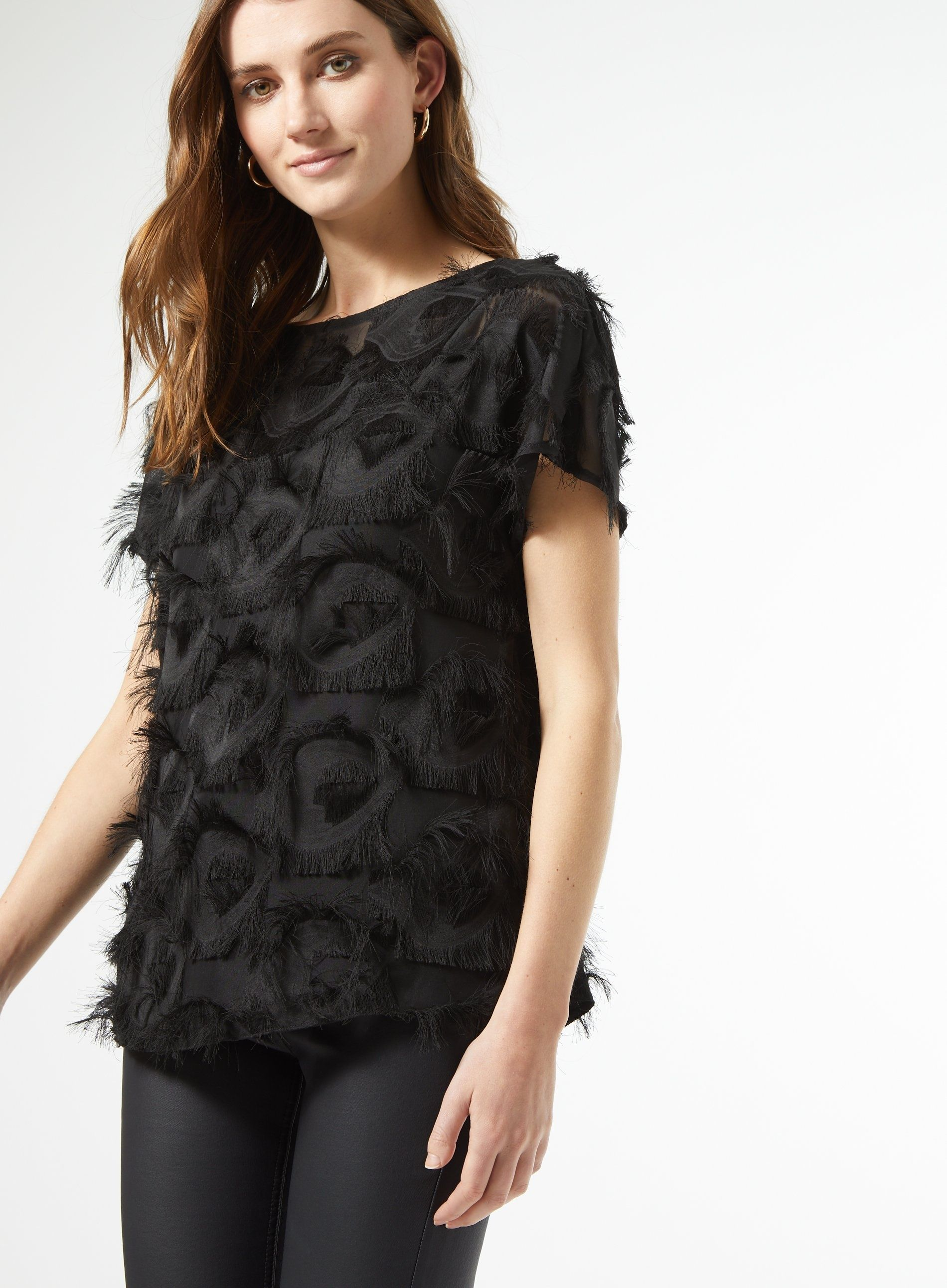 Dorothy Perkins Womens Black Textured Blouse Top Short Sleeve Casual