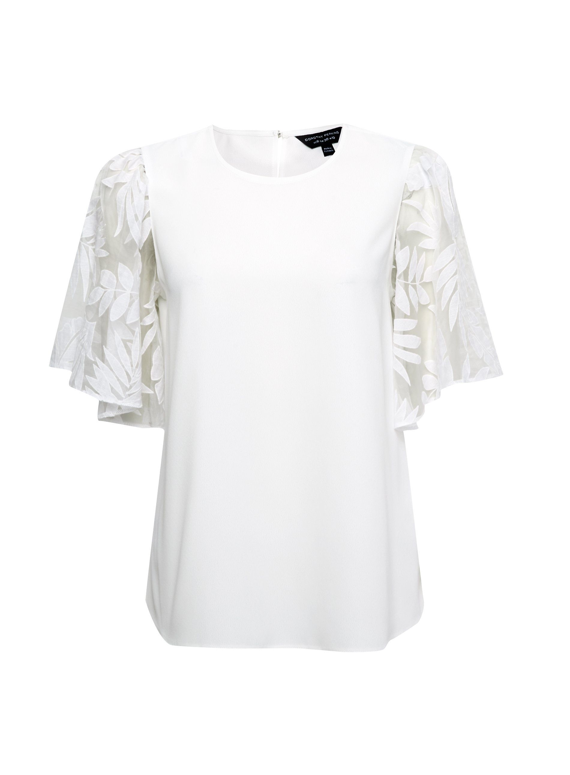 Dorothy Perkins Womens Ivory Organza Short Sleeve Top Round Neck Blouse