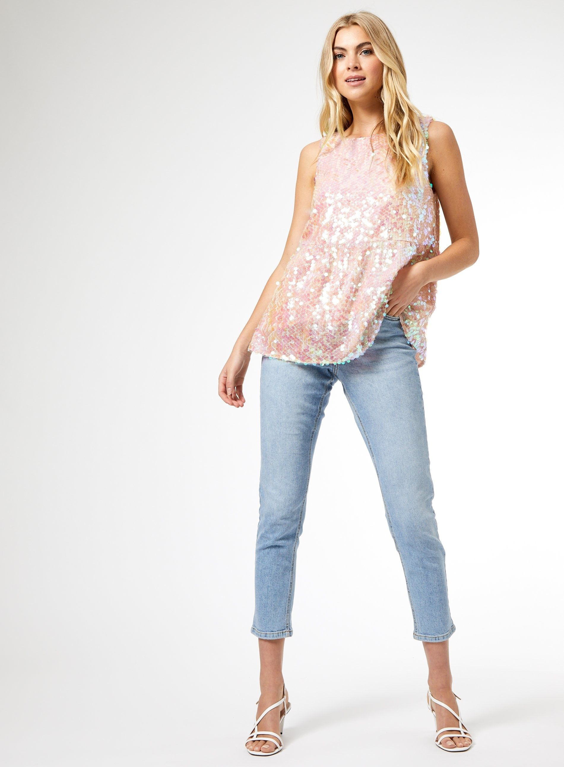 Dorothy Perkins Womens Pink Sequin Tiered Top Round Neck Sleeveless Blouse