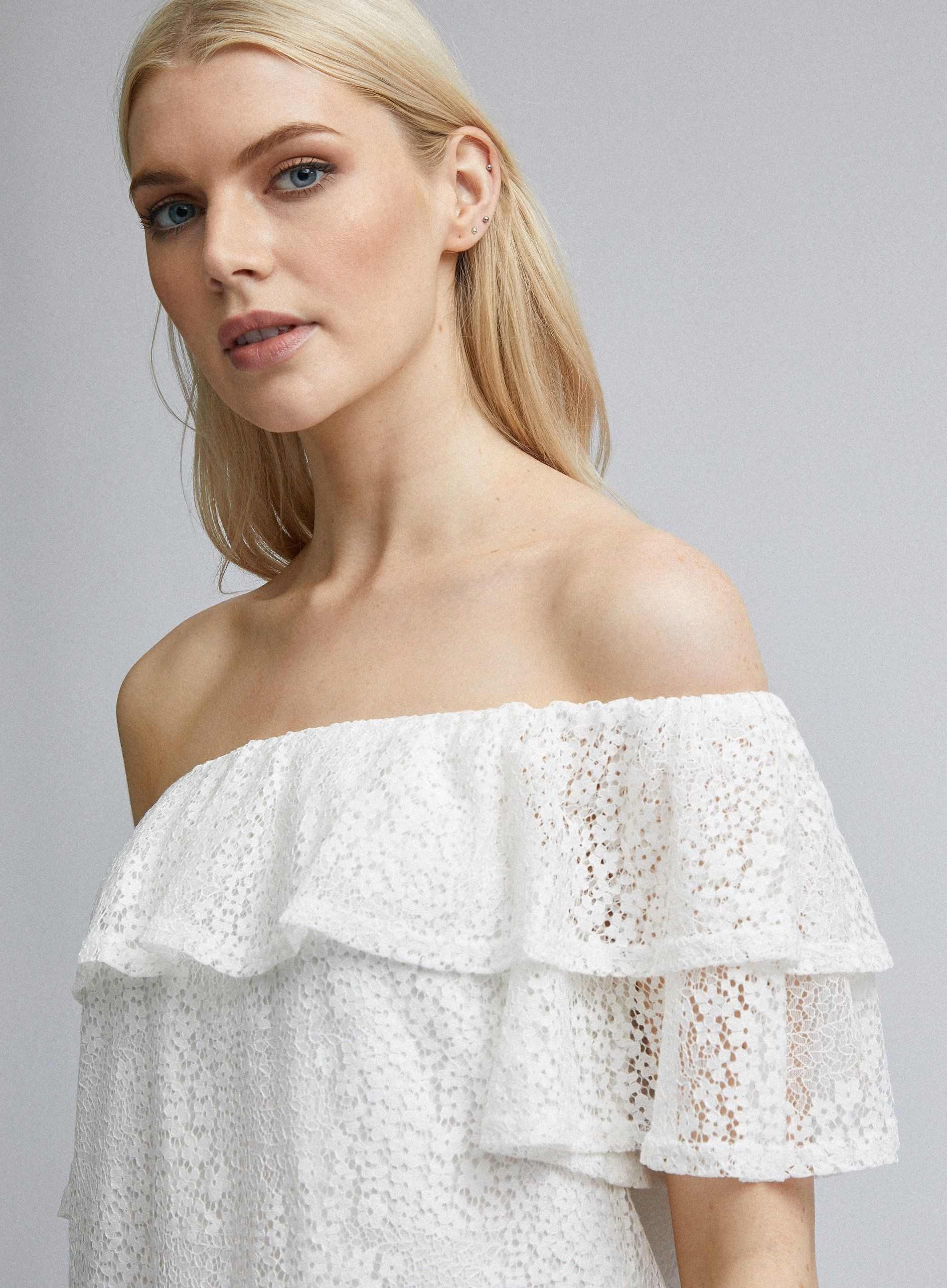 Dorothy Perkins Womens Ivory Ruffle Bardot Top Short Sleeve Shoulderless Blouse