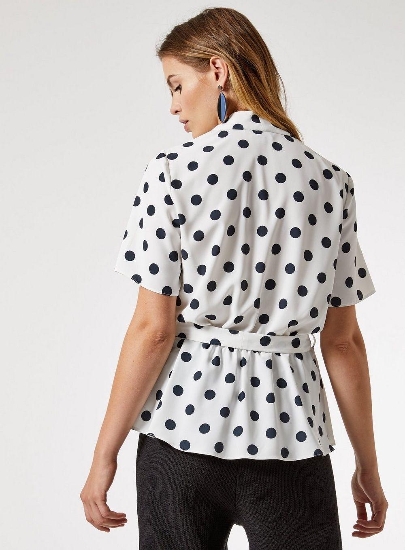 Dotothy Perkins Womens White Colour Spot Print Polka Dot Wrap Top Blouse