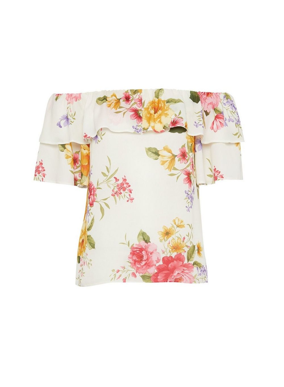 Dorothy Perkins Womens Ivory Floral Double Ruffle Bardot Top 3/4 Sleeve Blouse