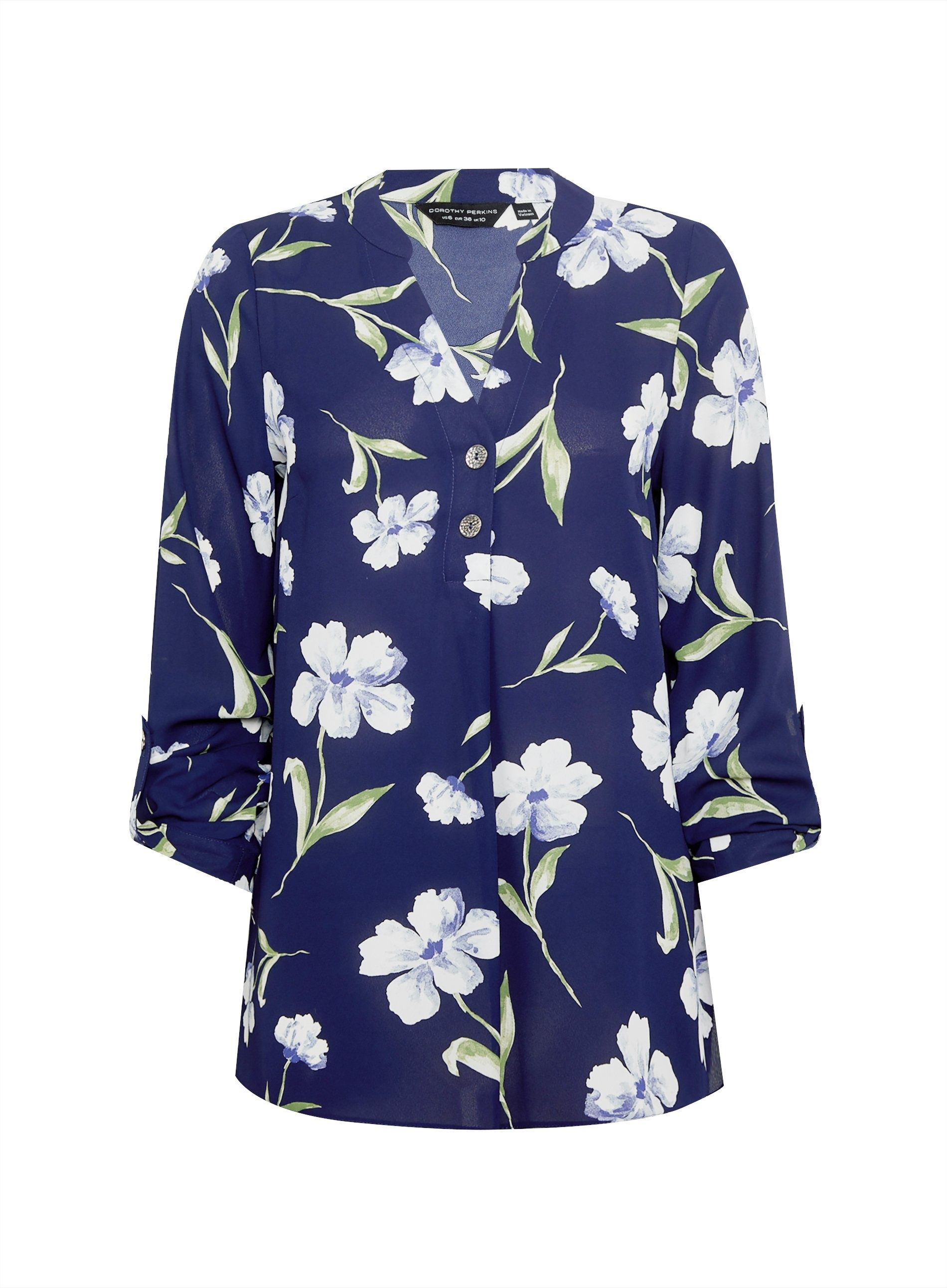 Dorothy Perkins Womens Navy Blue Floral Print Two Button Roll Sleeve Top