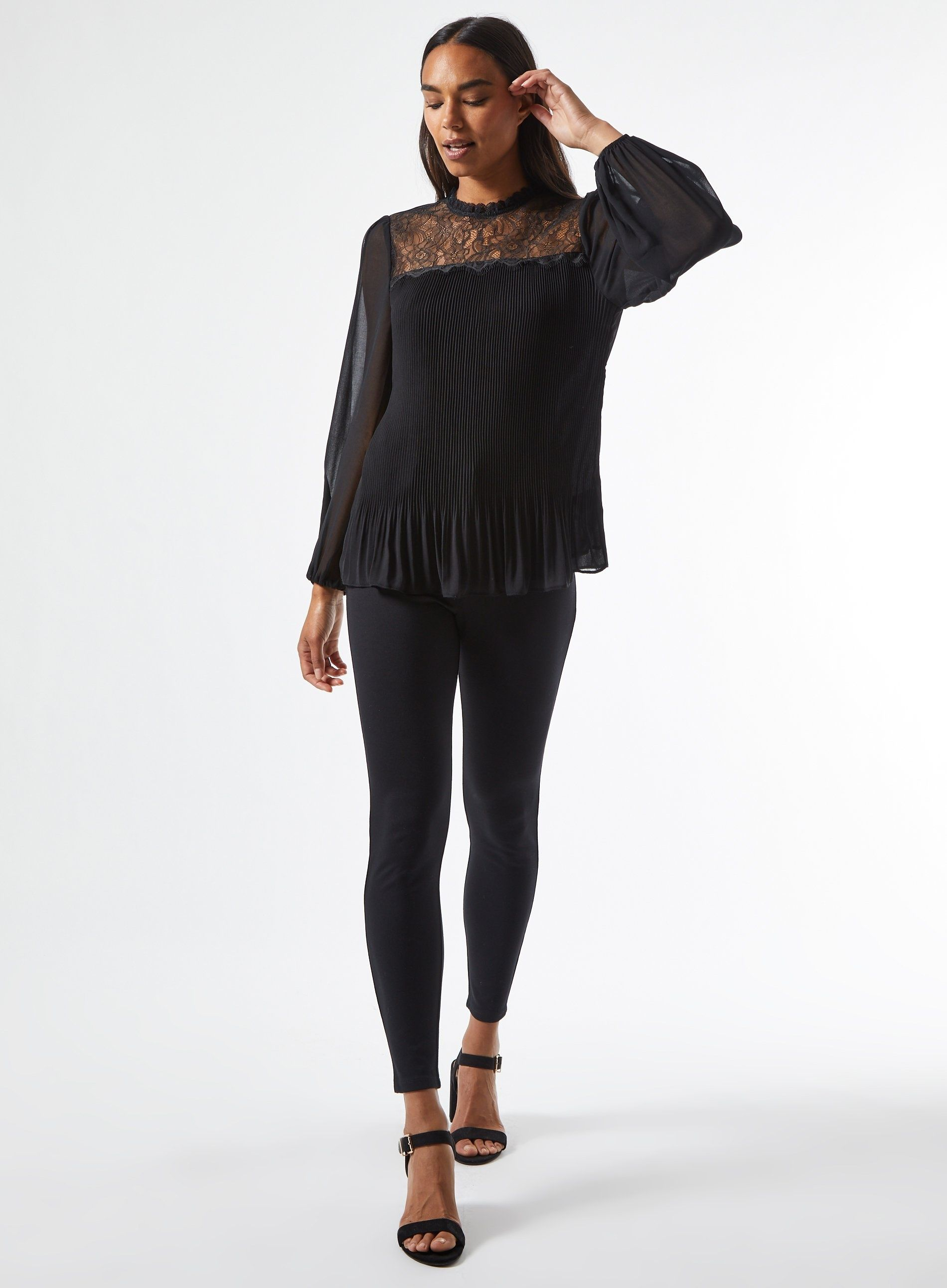 Dorothy Perkins Womens Black Pleated Lace Yoke Top Shirt Blouse Round Neck