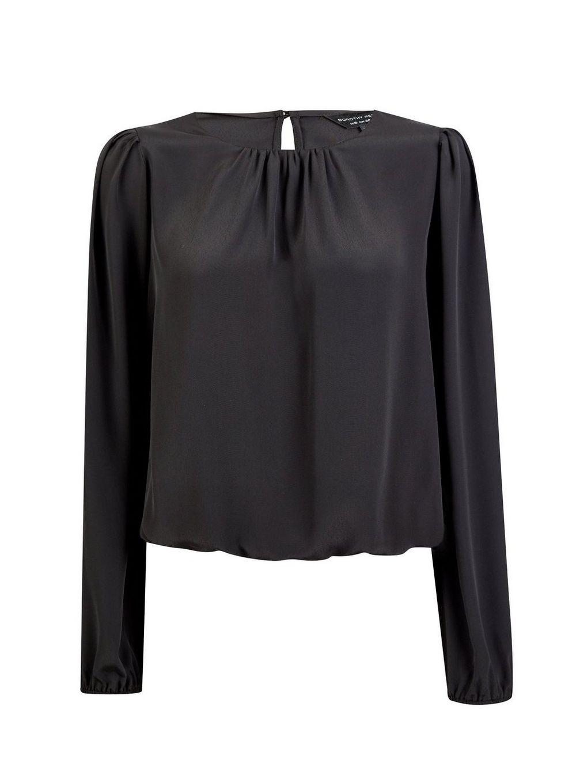Dorothy Perkins Womens Black Plain Bubble Hem Blouse Elegant