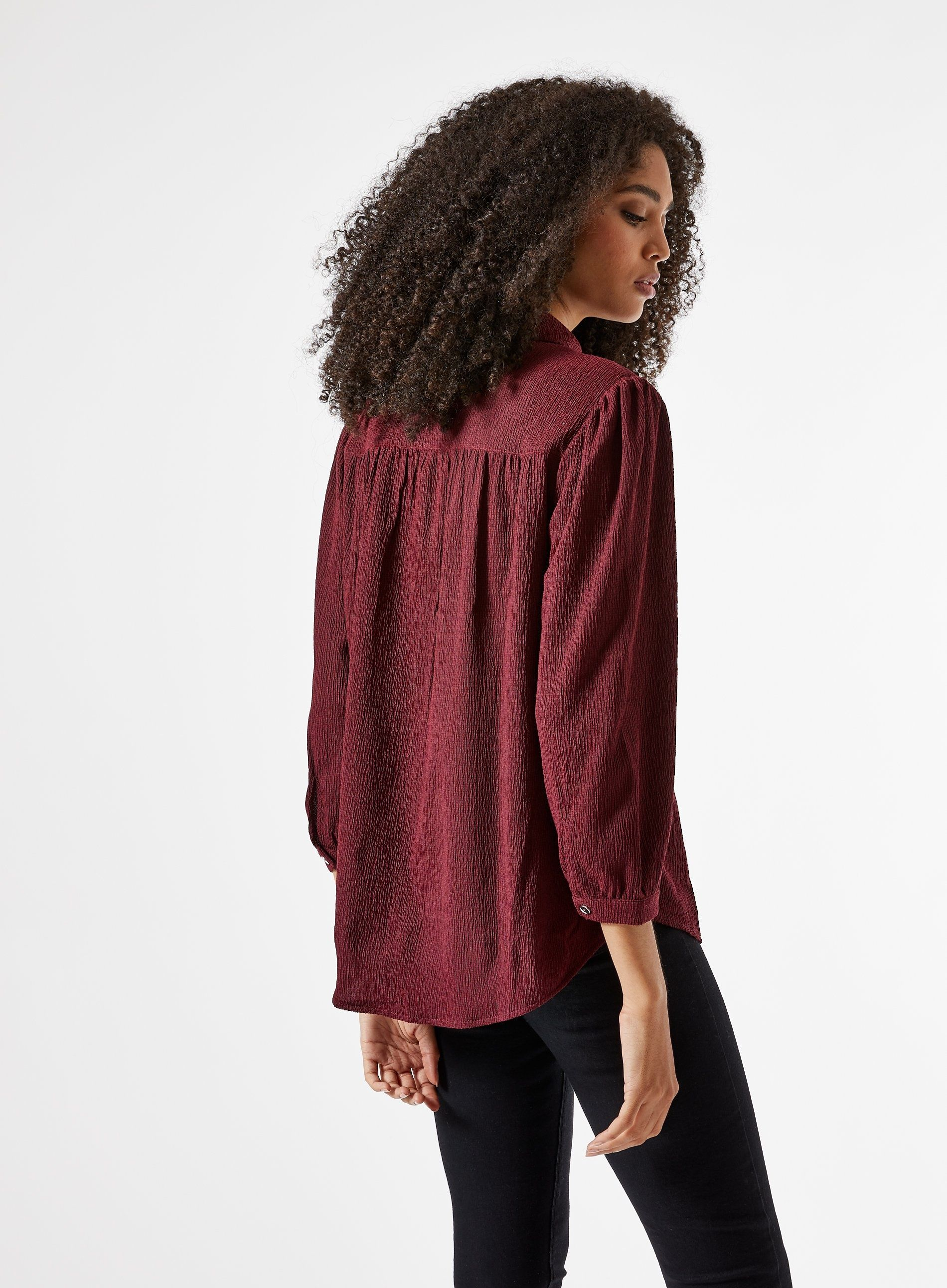 Dorothy Perkins Womens Red Textured Shirt 3/4 Sleeve Collared Blouse Top