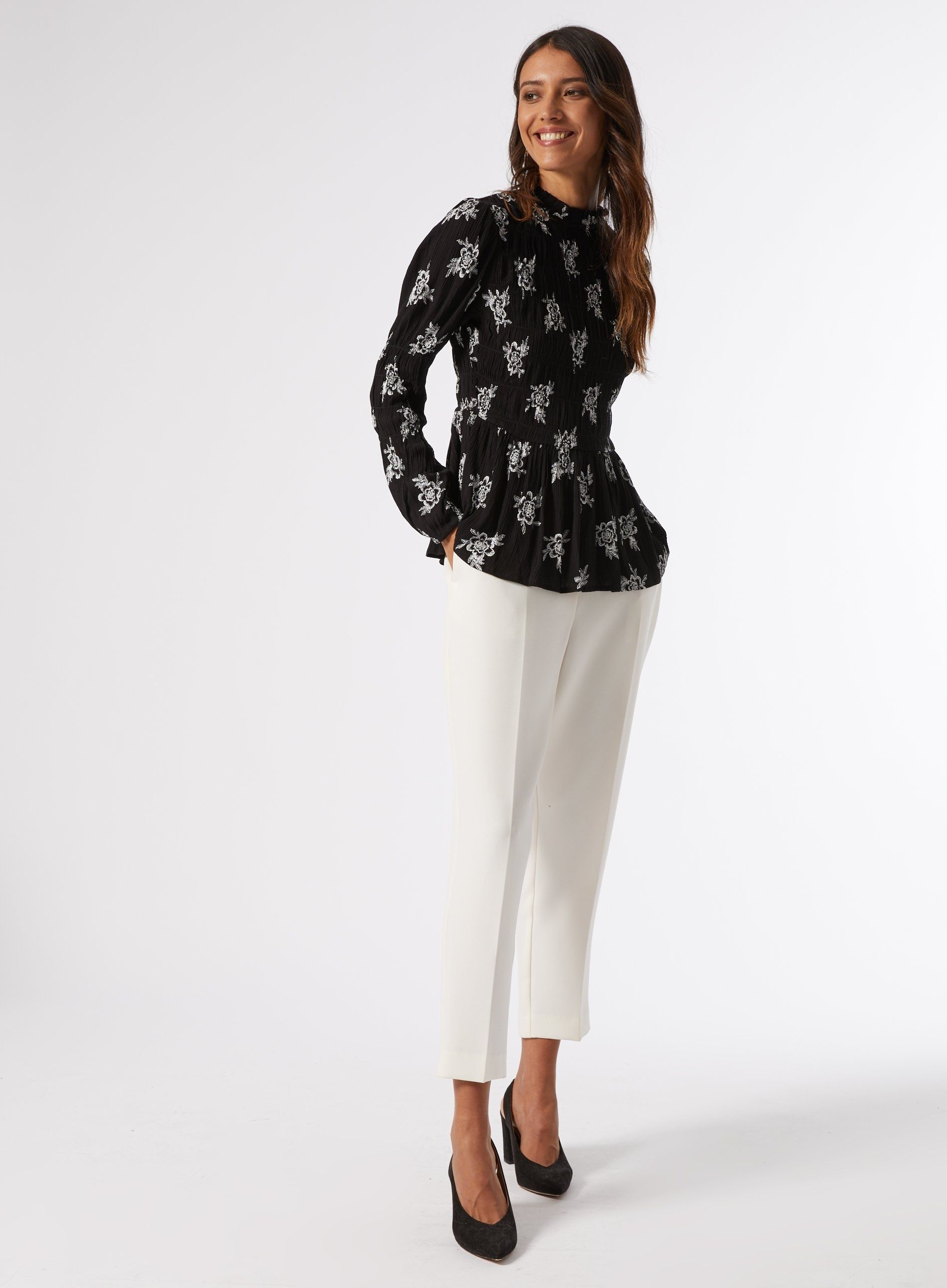 Dorothy Perkins Womens Black Floral Print Shirred Top Shirt Blouse High Neck