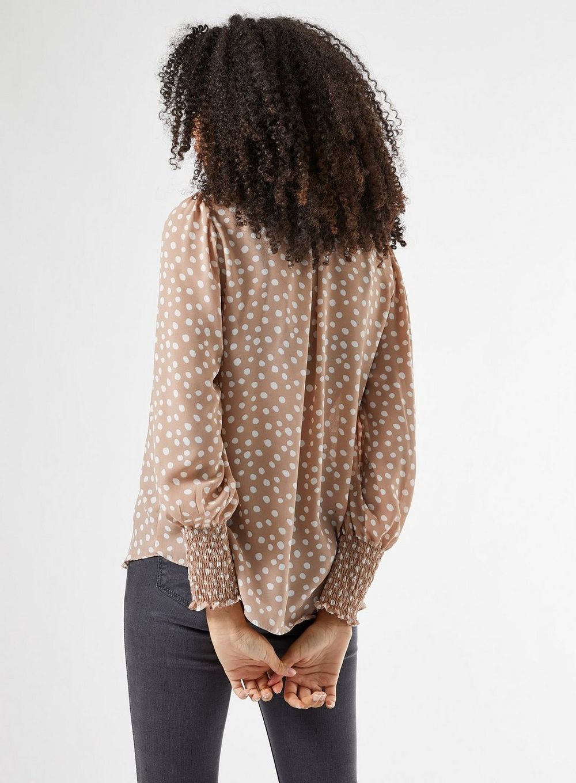 Dorothy Perkins Womens Stone Spot Print Shirred Neck Top Blouse Elegant