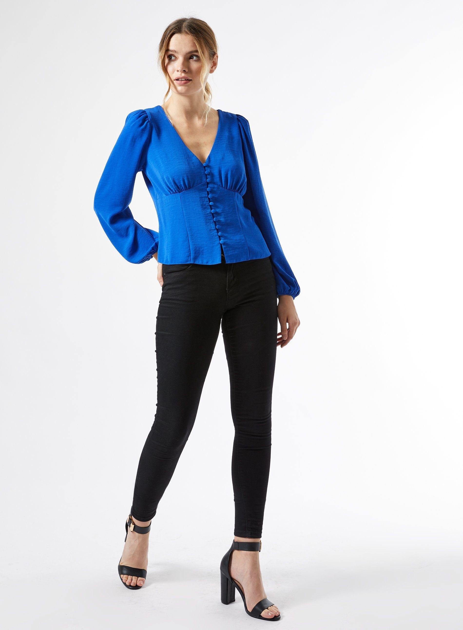Dorothy Perkins Womens Blue Button Through Top Shirt Blouse V-Neck Long Sleeve