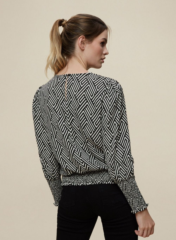 Dorothy Perkins Womens Black White Geometric Print Shirred Cuff Top Long Sleeve