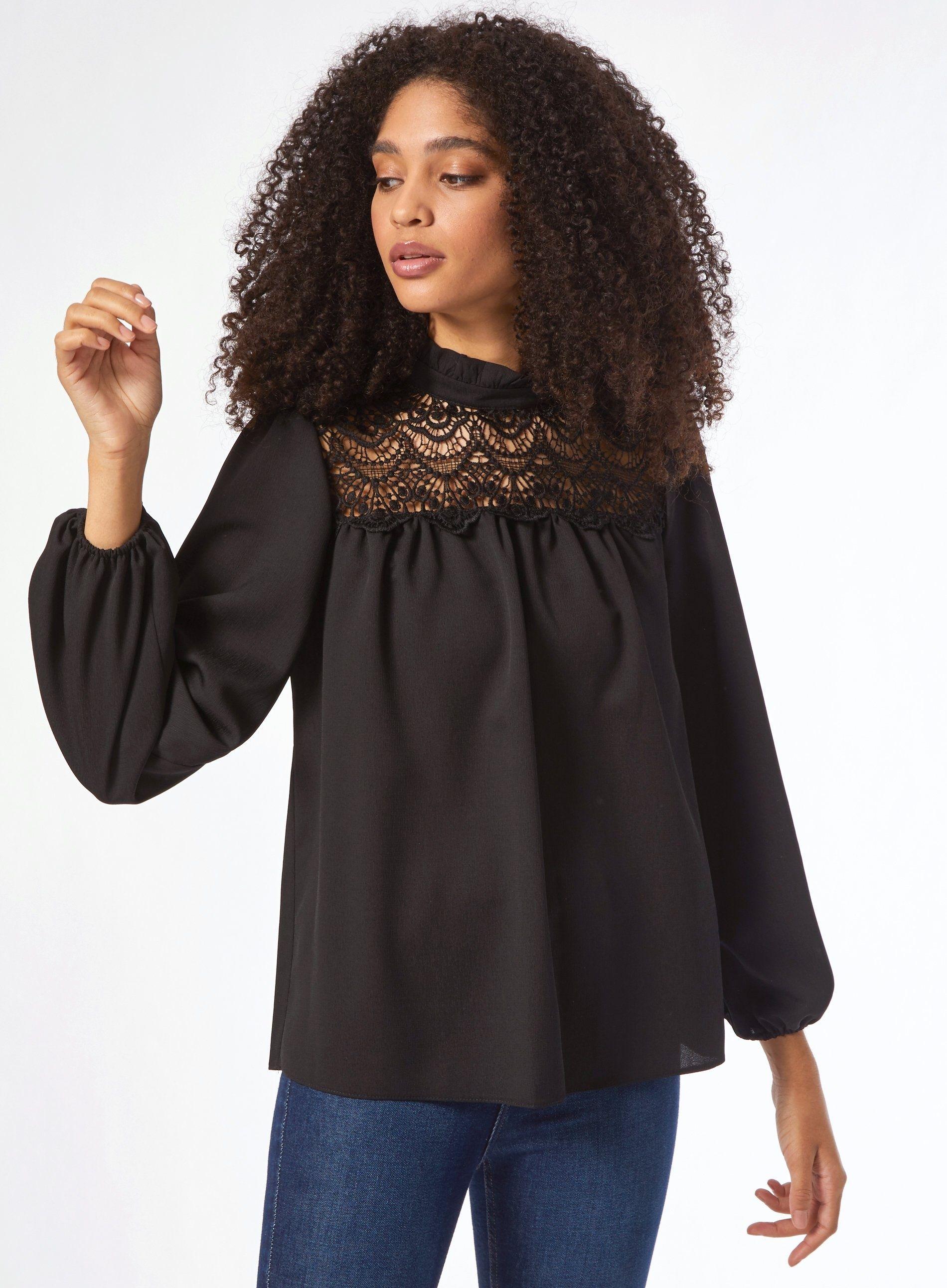 Dorothy Perkins Womens Black Lace Yoke Top 3/4 Sleeve Shirt Blouse Round Neck