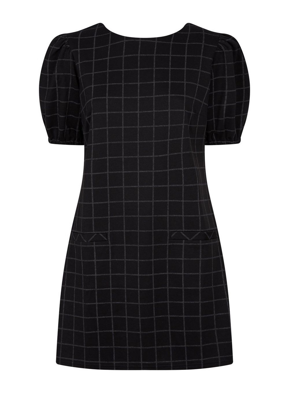 Dorothy Perkins Womens Black Grid Print Tunic Top Shirt Blouse Short Sleeve