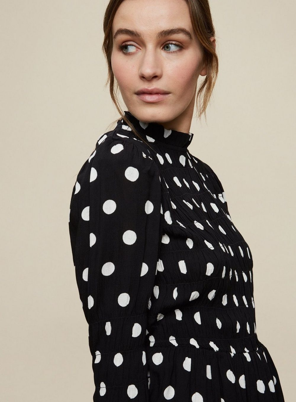 Dorothy Perkins Womens Black Spot Crinkle Shirred Body Top Long Sleeve Blouse