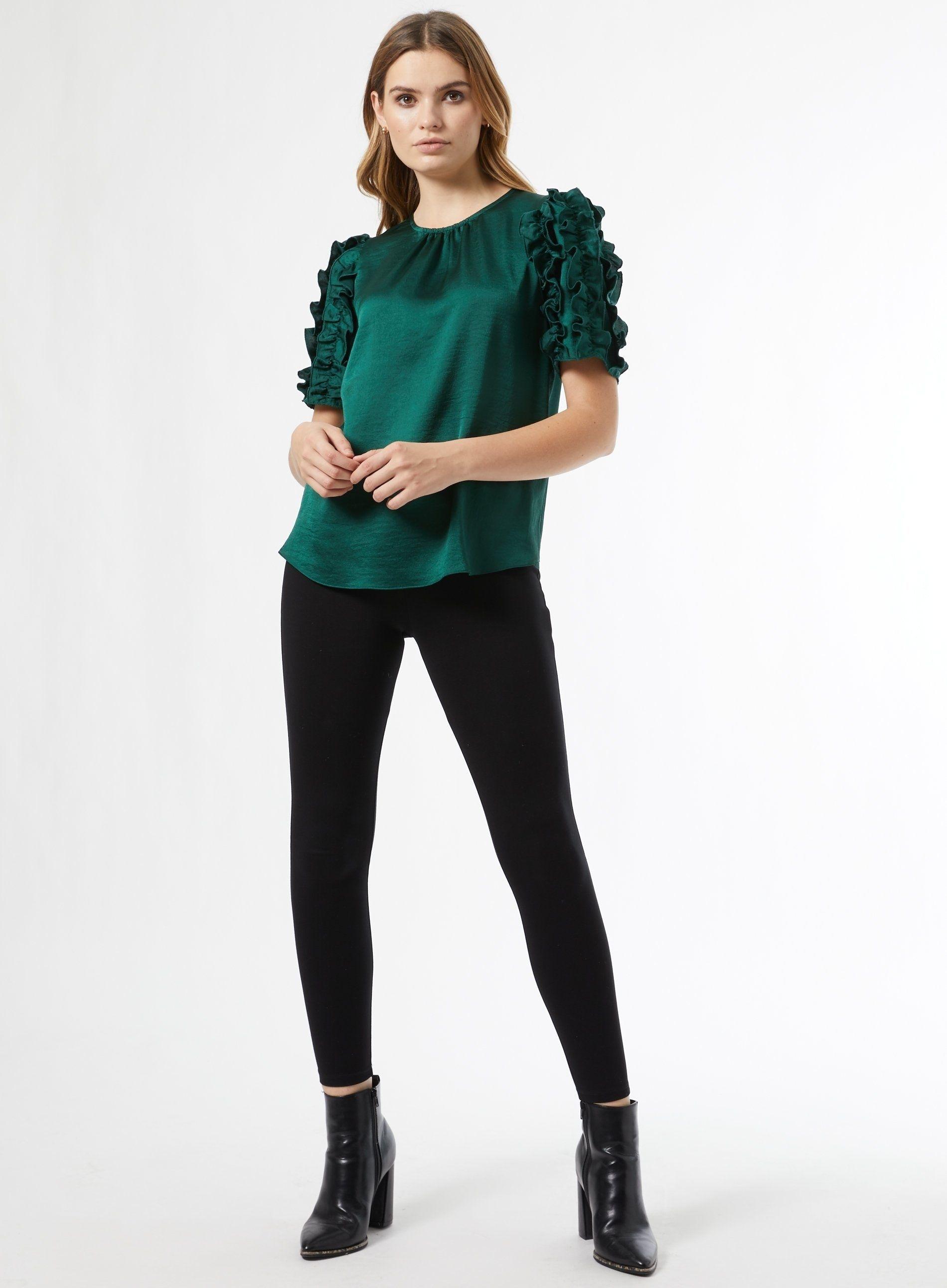 Dorothy Perkins Womens Green 3D Sleeve Top Shirt Blouse Round Neck Long Sleeve