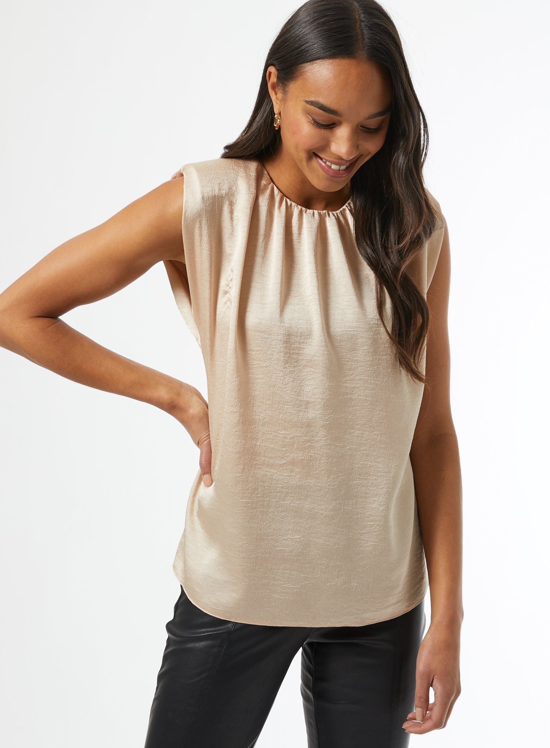 Dorothy Perkins Womens Champagne Shoulder Pad Blouse Sleeveless Party Top