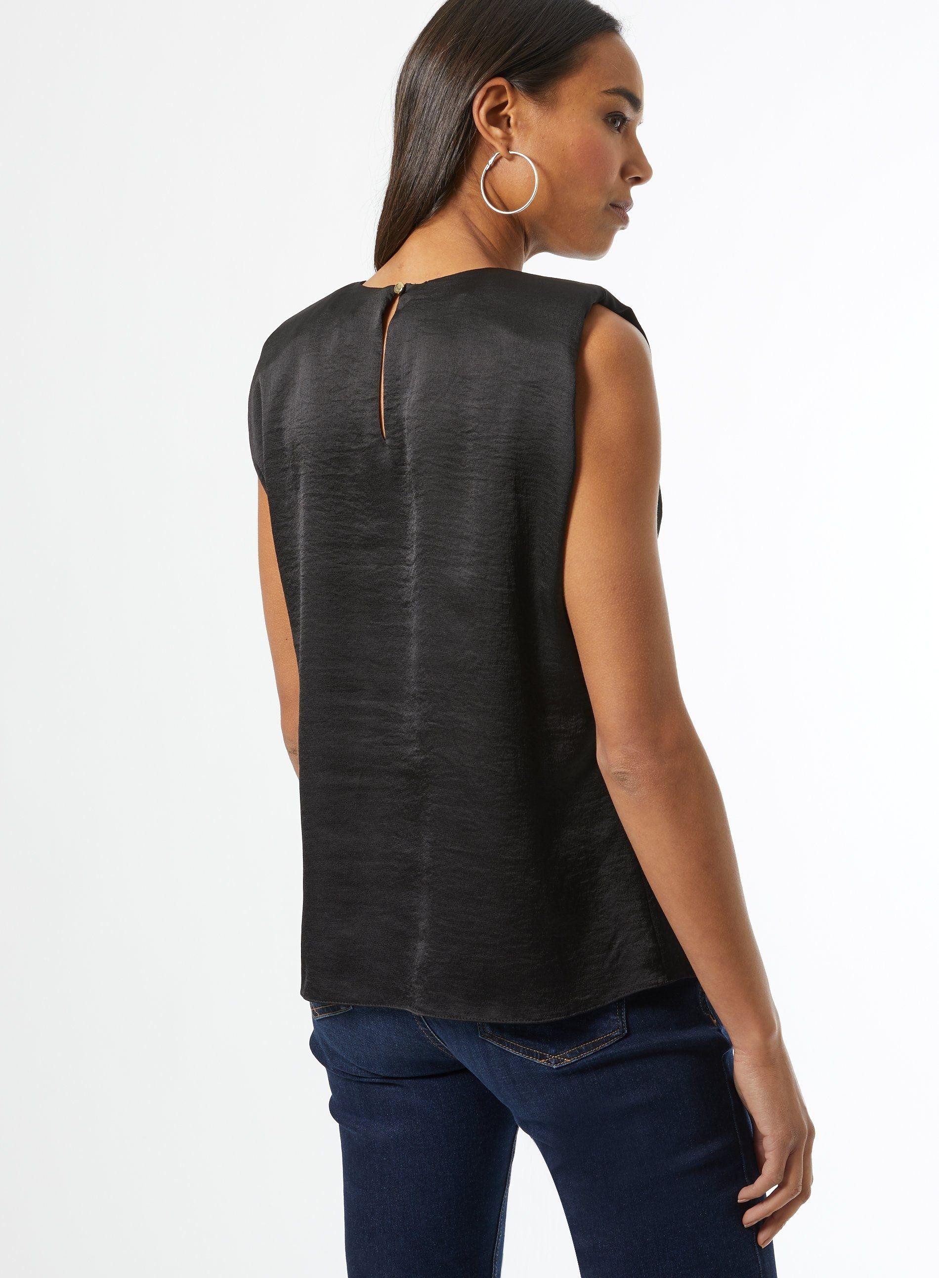 Dorothy Perkins Womens Black Shoulder Pad Sleeveless Top Blouse