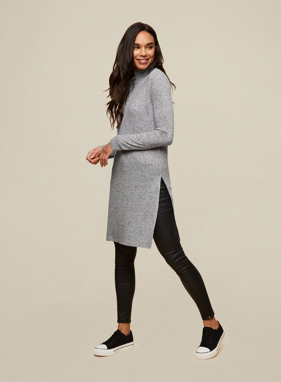 Dorothy Perkins Womens Grey Jersey Tunic Dress Long Sleeve Casual Daywear Top