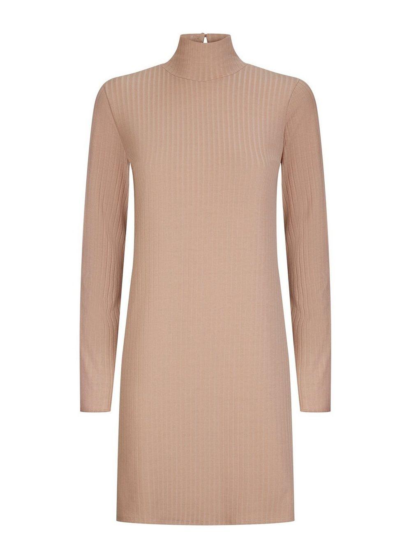 Dorothy Perkins Womens Brown Jersey Ribbed Tunic Top Blouse Shirt Long Sleeve