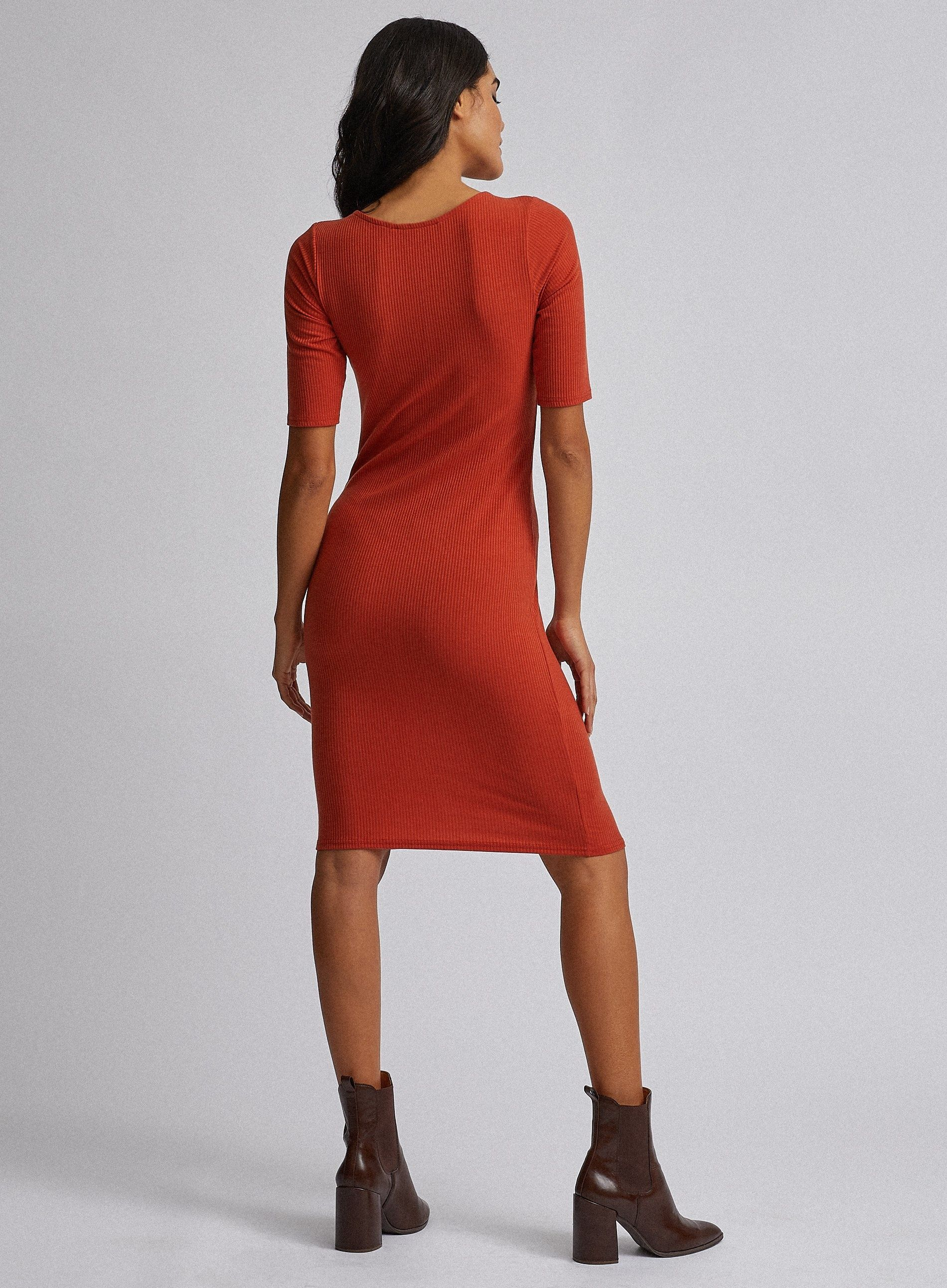 Dorothy Perkins Womens Red Sweetheart Ribbed Bodycon Dress Short Sleeve